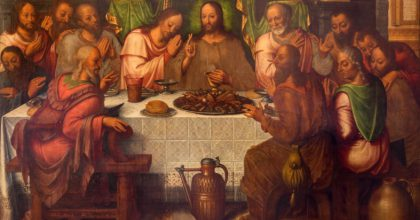 BRUGGE, BELGIUM - JUNE 13, 2014: The Last supper of Christ by Anthuensis Clakissins in st. Giles (Sint Gilliskerk).